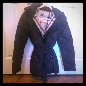 Hooded Burberry puffer coat